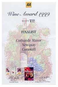 Corisande Manor Hotel Cornwall Wine Award